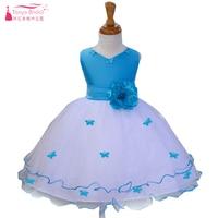 Princesa azul princesa Vestidos de flores de niña volantes con mariposa decoraciones niños pagent vestido comunión partido zf037