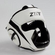 Полностью покрытый боксерский шлем Муай Тай из искусственной кожи тренировочный спарринг боксерский головной убор оборудование ММА безопасная посадка для мужчин и женщин