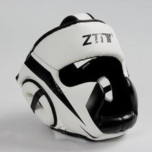 Полностью покрытый боксерский шлем Муай Тай ПУ кожа тренировочный спарринг боксерский шлем оборудование MMA безопасная посадка для мужчин и женщин