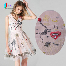 Eyes,Spider,Red Heart,Sun Pattern Embroidery Fabric,Light Color Style Baby Women Skirt,Fashion Clothes Tulle Fabric S0256L
