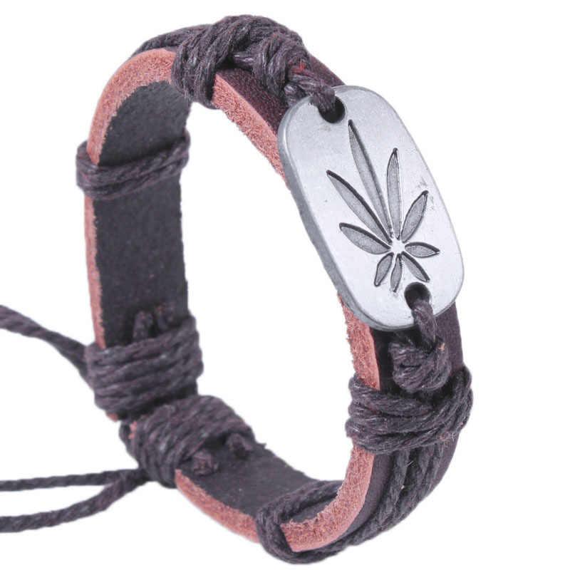 Grosir Asli Kulit Logam Maple Jamaika Unisex Pria Fashion Wanita Gelang Gelang Lucky Leaf Pria Perhiasan