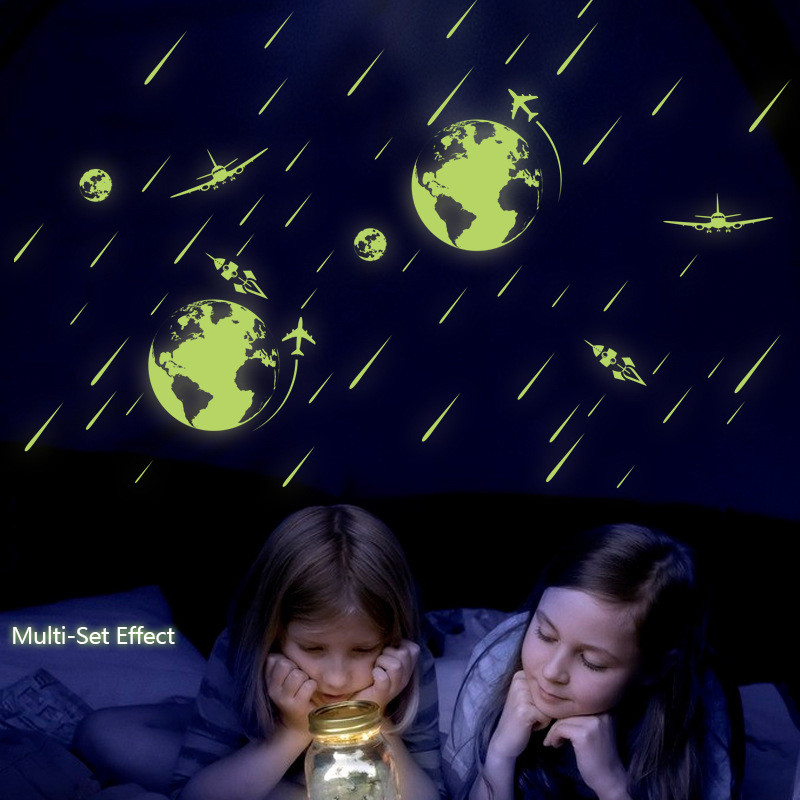 Luminous Wall Sticker Glow in the Dark Stars Universe Meteor Shower Home Deco Noctilucent Wall Decal for Kids Bedroom Ceiling