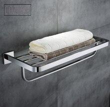 SUS 304 из нержавеющей стали, двойной уровень chrome отделка ванной вешалка для полотенец банное полотенце полки ванной оборудования Настенные стойки