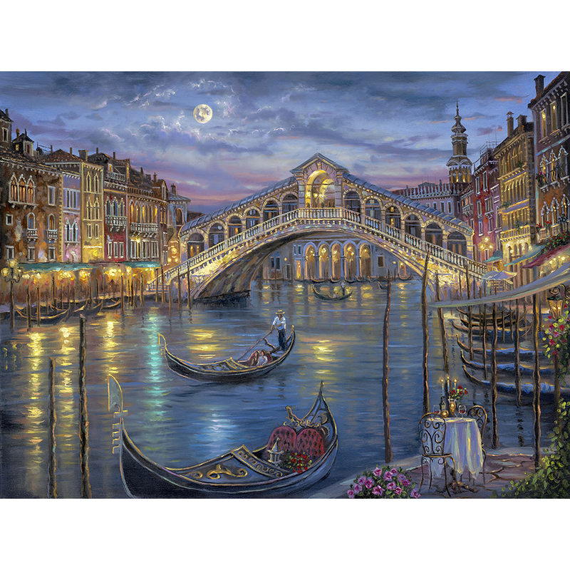 5D Diamond Embroidery Venice City Landscape Diamond Painting Bridge and Boat Cross Stitch The Paintings of Rhinestone Scenery