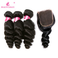 Beauty Grace Hair Brazilian Loose Wave Bundles Human Hair 3 Bundles With Closure 4 4 Natural