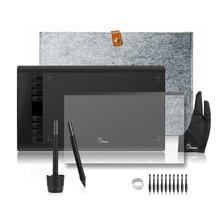 Sale 2 Pens Parblo A610 Graphics Drawing Digital Tablet with Wool Liner Bag+Protective Film+Finger Glove+10 Pen Tips
