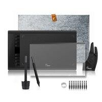 2 Stylos Parblo A610 Graphique Dessin Tablette Numérique avec Laine Doublure Sac + De Protection Film + Doigt Gant + 10 stylo Conseils