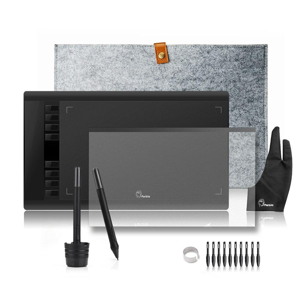 2 stifte Parblo A610 Grafiken Zeichnung Digital Tablet mit Wolle Liner Tasche + Schutz Film + Finger Handschuh + 10 stift Tipps