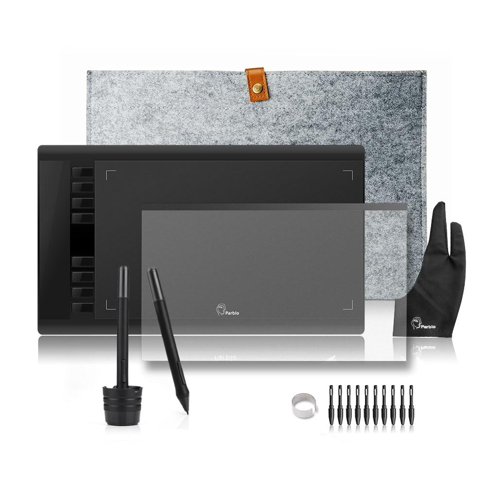 2 stylos Parblo A610 Dessin Graphique Tablette Numérique avec Doublure En Laine Sac + Film De Protection + Gant + 10 pointes de stylo