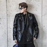 New Men's PU Leather Jacket Autumn Fashion Turn Collar Casual PU Jacket Men Leather Bomber Jacket Leater Coats M-2XL