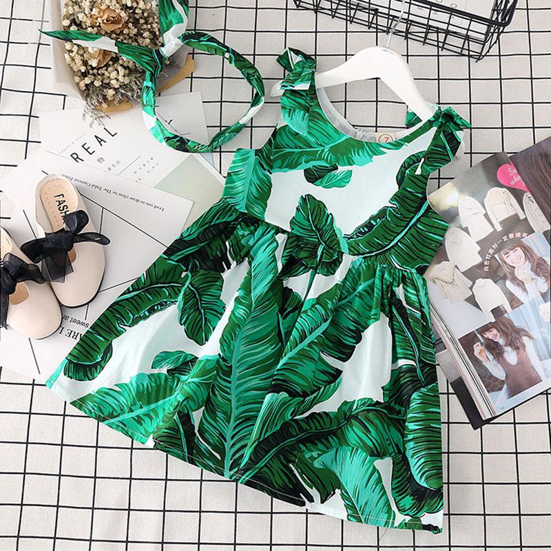 Dress for newborn baby girl summer Dresses Children Clothing Princess baby Dress headban party green leaf Clothes Dress