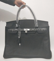 Высокое качество 50 см известного бренда из натуральной кожи дизайнерские сумки серебро и золотистой фурнитурой Сумки черный кожаный для Дл