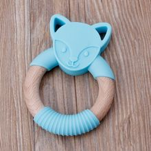 Newborn Gifts Baby Teether Fox Ring Design Exercise Grip Teething Toy Silicone Wood Soothe Babys Sore Chew