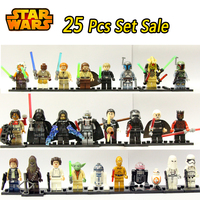 25pcs Star Wars Darth Vader General Grievous Jedi Knight Obi Wan Boba Fett Figures Anakin Bricks