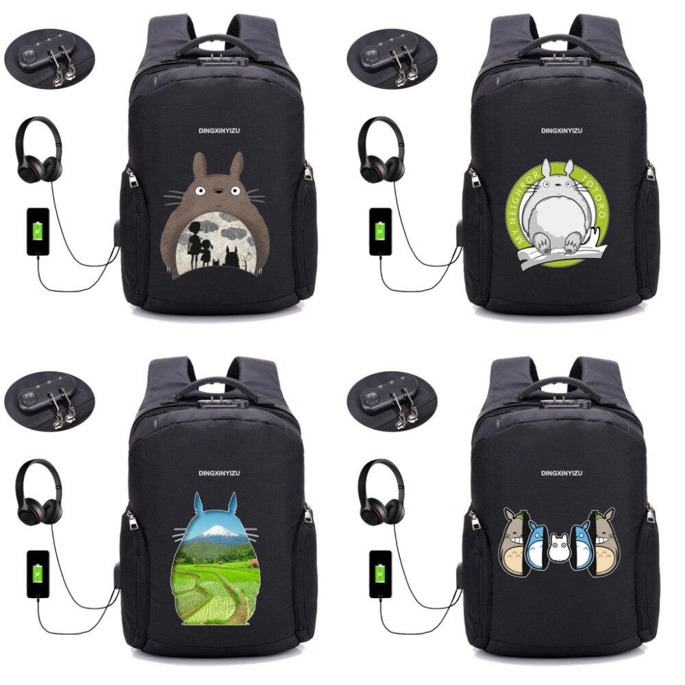 Anime Mon Voisin Totoro sac à dos USB Charge Sacs À Dos Anti-vol Imperméable étudiant sacs à livres homme femme nouveau jouet 28 style