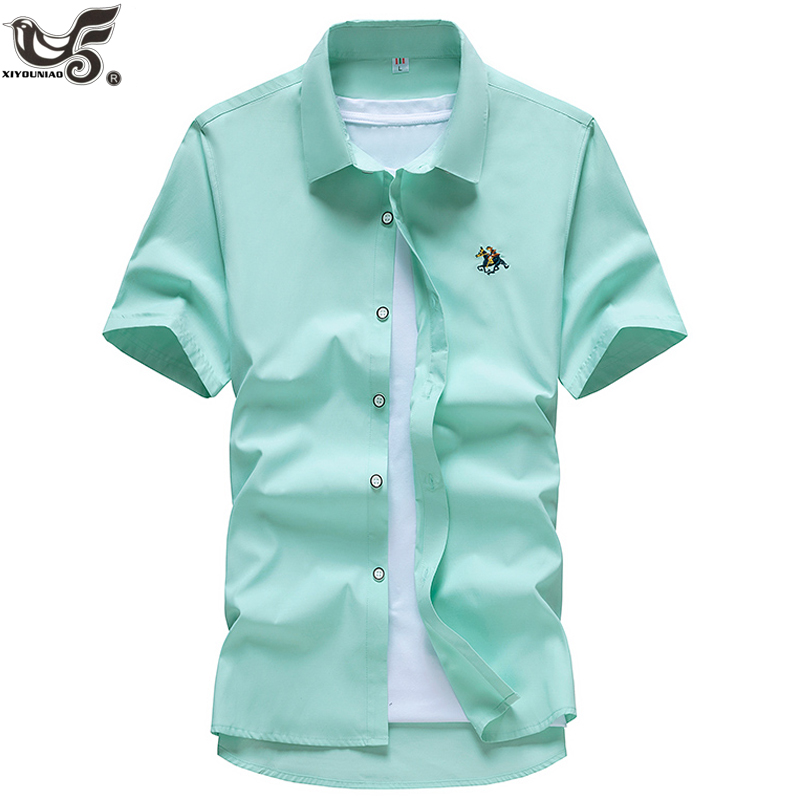 Men Beach Shirt Summer Style Short Sleeve Casual Shirt Slim Cotton Camisa Social Masculina Brand Clothing Size M~5XL