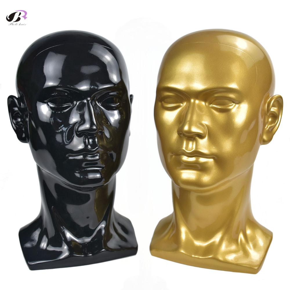 Bolihair PVC Male Head Mannequin Black and Gold Wig Mannequin Head hat Man's Wig Hat Glasses Headphone Caps Display Heads Modle