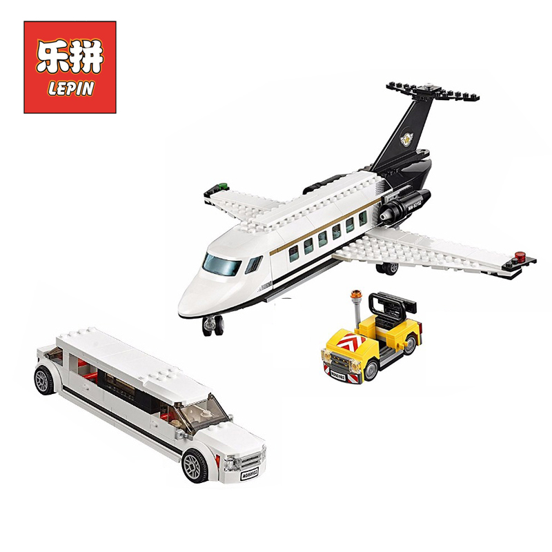 LEPIN 02044 City Airport VIP service Model set DIY Building Blocks Bricks with Airplane Car Doll Children toys Christmas Gift lepin 02043 city airplane series airport terminal station set building blocks bricks 60104 children educational toys christmas