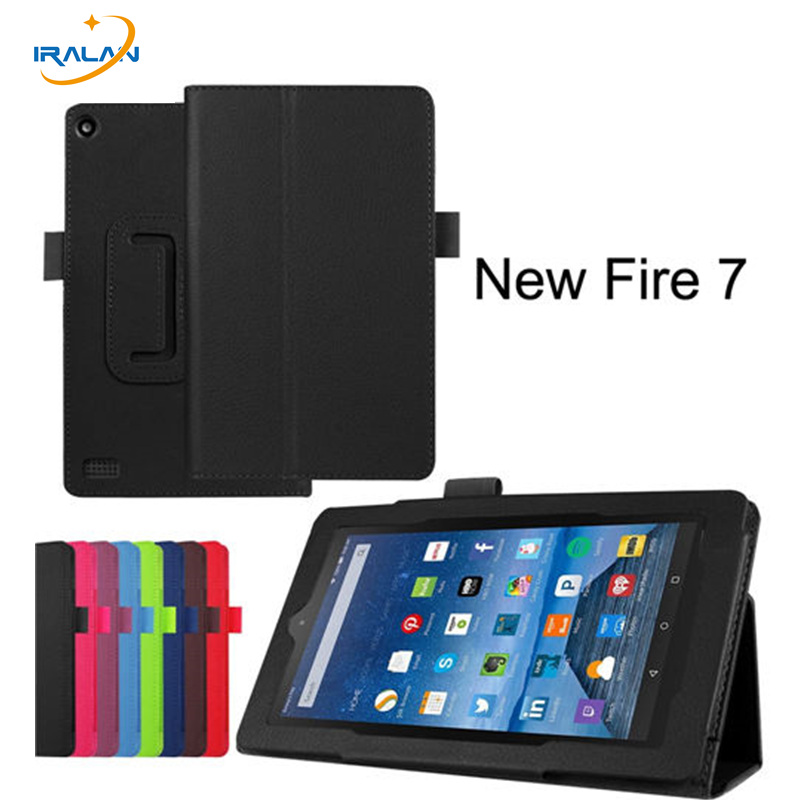 Hot Litchi Skin PU Leather Stand Folio Case For Amazon kindle fire HD7 2015 7 inch Luxury Flip Smart Cover+Stylus free shipping slim fit folio flip pu leather case cover skin back case for amazon all new kindle 6 display 8th gen 2016 release