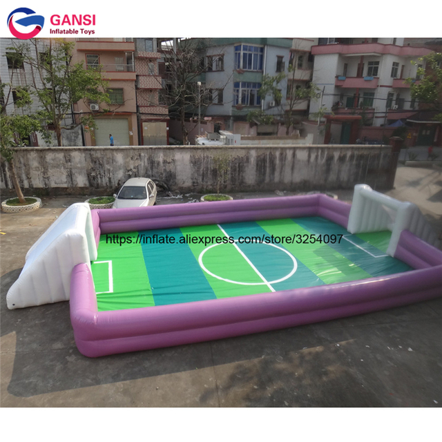 Football pitch inflatable soap stadium giant soccer course for kids cheap 0.9mm PVC inflatable football stadium from China