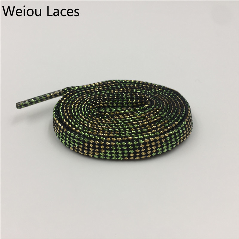 Weiou Flat Checkered Gold Light Green Glitter Shoe Laces Metallic Shoe Strings Shiny Bootlaces Double Layer Hollow Shoelaces 7mm
