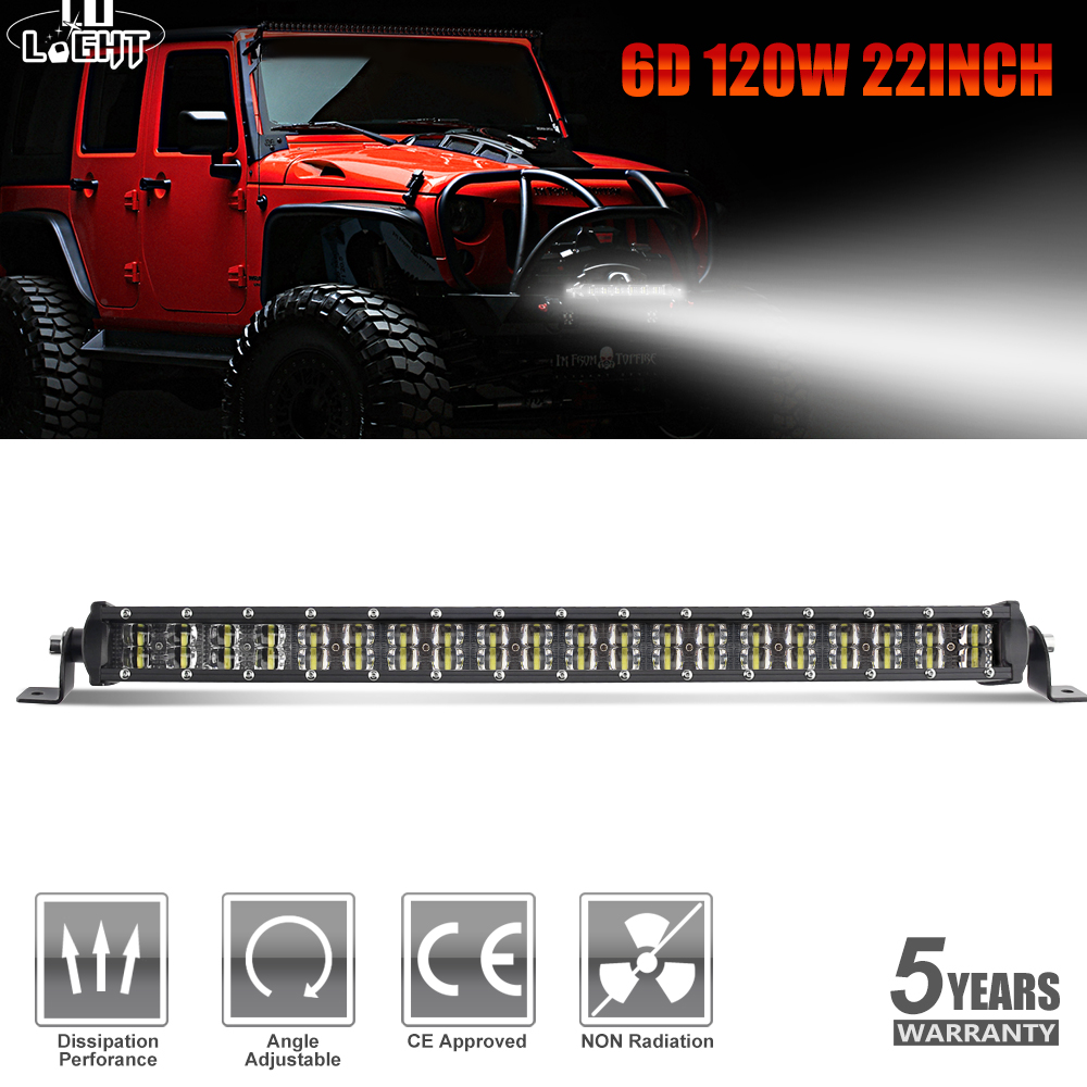CO LIGHT 6D 22inch Light Bar Offroad 120W Spot Flood Combo Led Work Light Bar for Truck SUV ATV 4WD 4x4 Auto Driving Lamp 12V24V цена