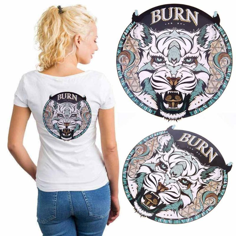 Burn Lion Wolf Pattern Patches 20*25cm Iron On Patches For DIY Clothing A-level Washable Stickers Christmas Gift For Girls Boys