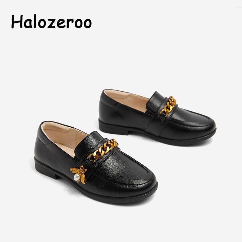 New Spring Baby Girls Bee Shoes Kids Brand Pu Leather Shoes Children Fashion Princess Flats Soft Chain Loafer Pearl Shoes 2019