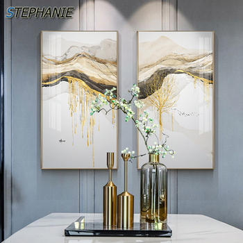 Abstract Golden Sun Canvas Painting Landscape Wall Pictures Big Posters Prints Fashion Tableaux Living Room Nordic Wall Art Deco