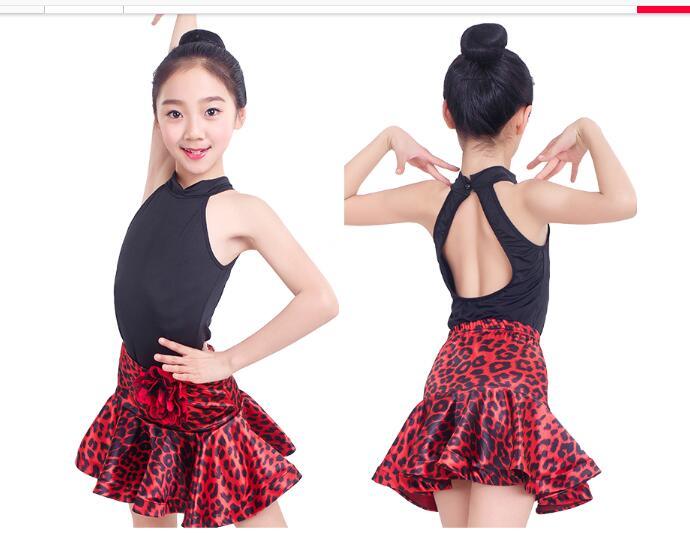 kids latin dress Rumba cha cha salsa tango dress vestido latino Latin dance  dress competition leopard 124eab2fdd0e