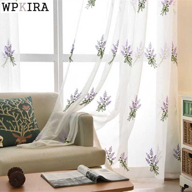 Simple White Lavender embroidered Tulle embroidered Voile Curtains ...