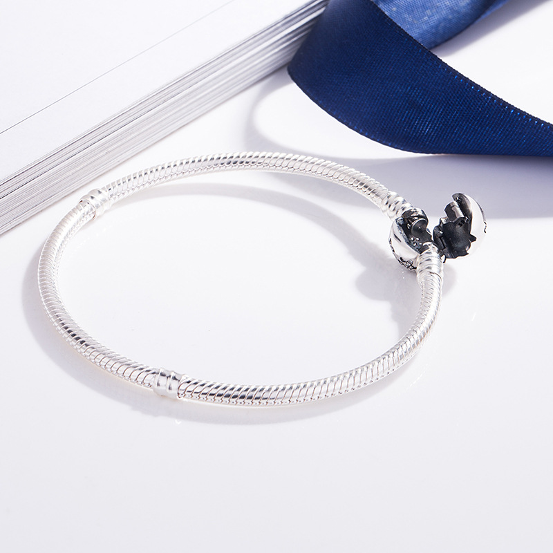 Flower Snow S925 Silver Bracelet Snake Chain Bangle For European Sterling Silver Charms Beads Women Lady Jewelry Valentine Gift in Charm Bracelets from Jewelry Accessories