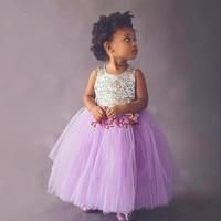Brillante y Bastante púrpura de la lavanda vestidos de niña bling de las lentejuelas y arco tutú niño vestido de criss cross volver para el cumpleaños