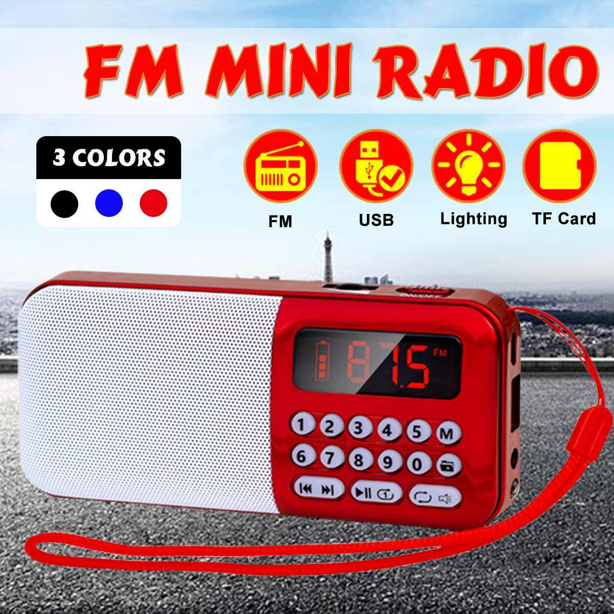 DC 5V FM Radio tarjeta TF USB AUX altavoz reproductor de Audio portátil de Radio de FM Digital USB TF MP3 altavoz reproductor de luz Led