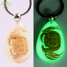 Natural Crab Keychain Glow-in-the-Dark Real Insect Keychain