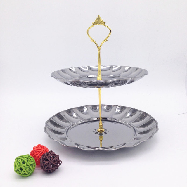 Stainless Steel 2-Tiered Fruits \u0026 Desserts Silver Gold Cake Stand Plate Display For Wedding & Stainless Steel 2 Tiered Fruits \u0026 Desserts Silver Gold Cake Stand ...
