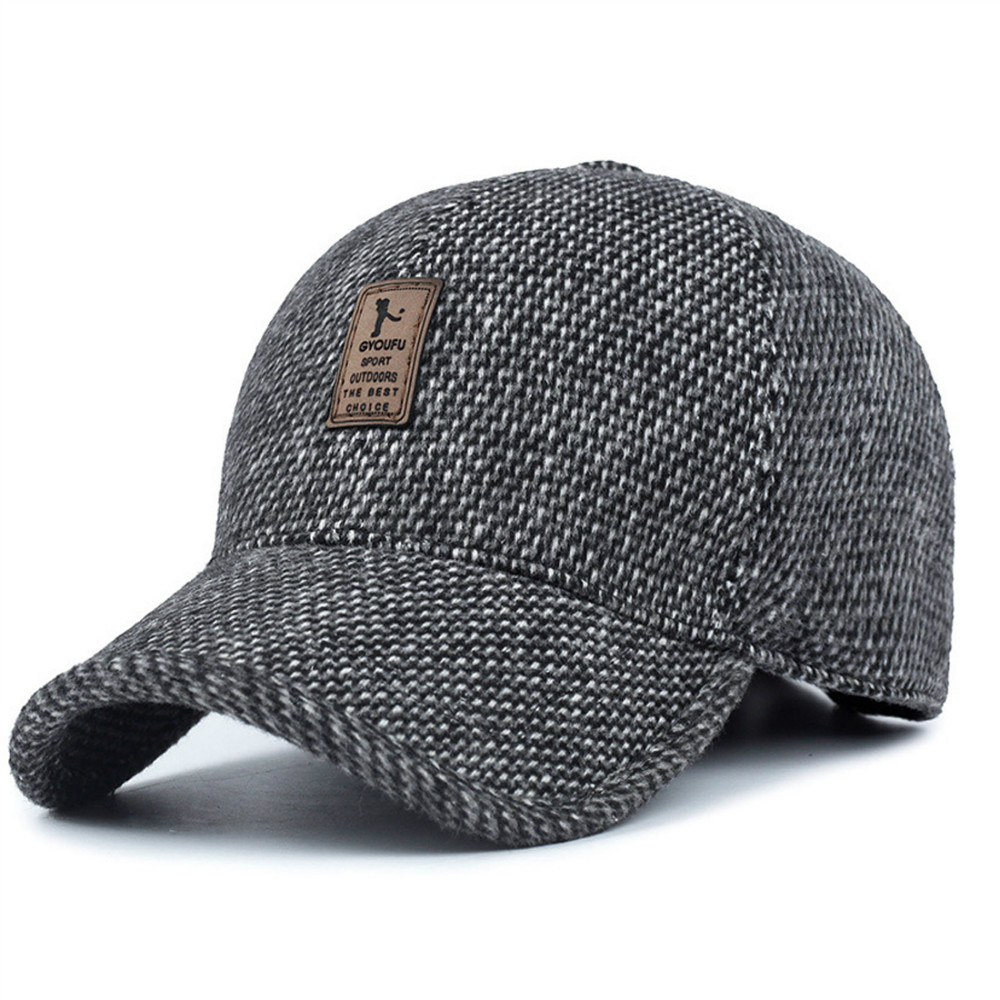 Mens Winter Wool Tweed Peaked Earflap Baseball Cap Folding Earmuffs Design Casual Adjustable Warmer Hat Outdoor Driving Golf