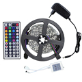5M Led Strip Light Kit 5050 Non-waterproof RGB+DC Connect/IR Remote Controller+12V 2A Power Supply Flexible Ribbon Led Tape
