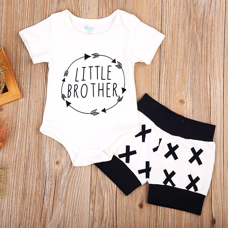 white Baby Boys summer little brother Outfits Newborn Romper match Shorts Cotton casual babe boys Clothes Set 0-24M