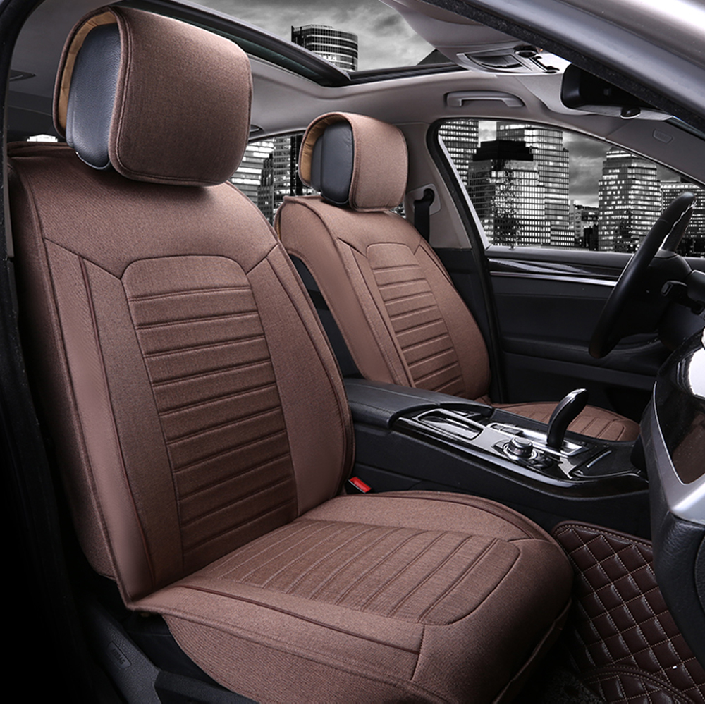 Breathable Linen Car Seat Covers Universal Luxury Cover Durable Comfortable Auto
