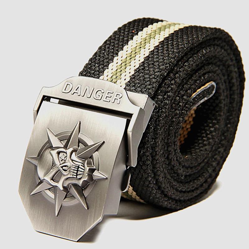 Cinturón de lona de los hombres de moda cráneo Metal tácticas - Accesorios para la ropa - foto 3