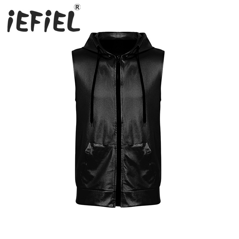 Fashion 2019 Mens Hipster Shiny Metallic Sleeveless Hooded Front Zippered Vest Clubwear Crop Tops Costumes with Kangaroo Pocket