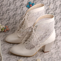 Lace Wedding Boots Ivory Mid Calf Square Toe High Heel Satin Bridal Shoes Ladies Pumps With