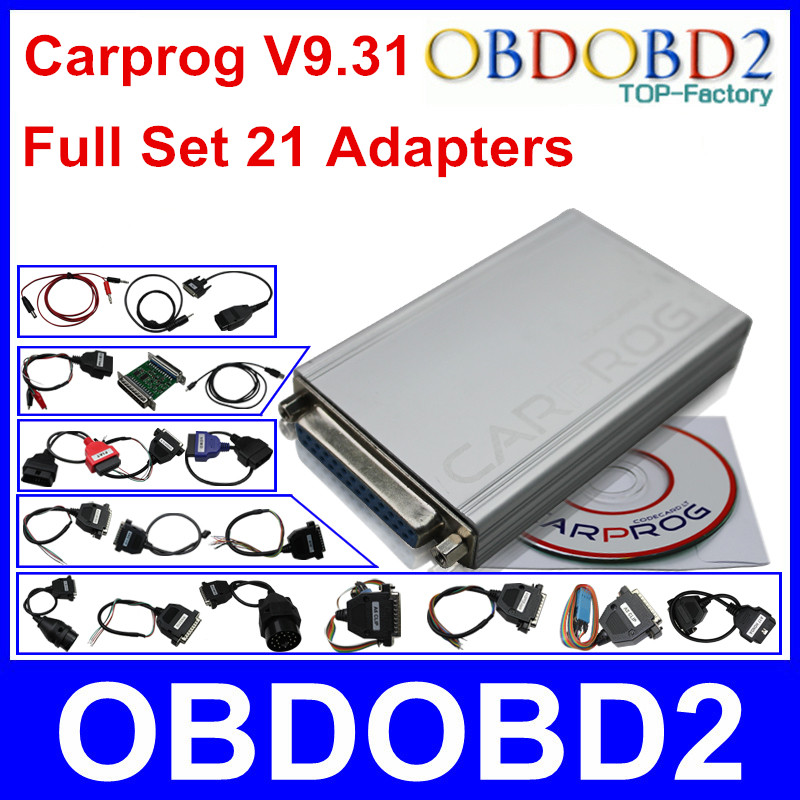Newest CARPROG Full Set V9.31 Programmer Auto Repair Airbag Reset Tools Car Prog ECU Chip Tuning Full 21 Adapters Free Ship