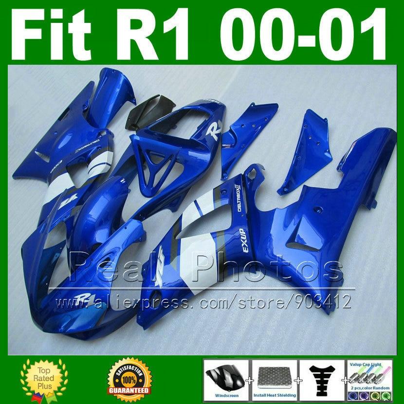 Real photo fairings for YAMAHA YZF R1 2000 2001 blue fairing kit YZFR1 00 01 1000 YZF-R1 bodywork kits plastic parts T8I1 fairing body kit bodywork for yamaha yzfr1 yzf r1 yzf1000 r1 yzf r1 2001 2000 00 01 zxgymt