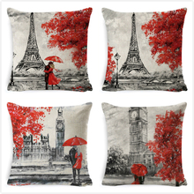 France Tower Big Ben Cushion Covers Lover Throw Pillow Cover Cotton Linen Decorative Case for Home Bedroom Pillowcase