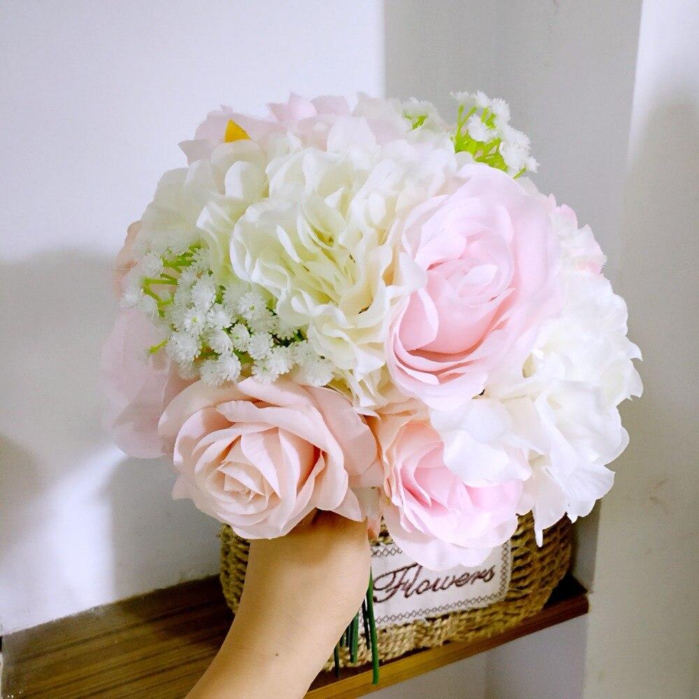 Handgjord silke satin Rose Blommor Wedding Bride Bouquet Konstgjord - Bröllopstillbehör - Foto 3
