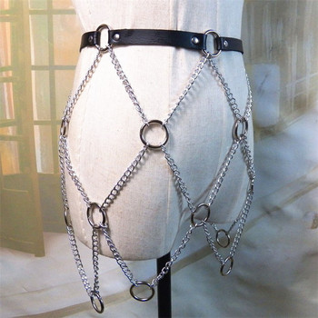 Women Faux Leather Link Chains Mini Skirts Goth Punk Metal O Rings Hollow Out Skirts Adjustable Party Club Festival Rave Skirt 6