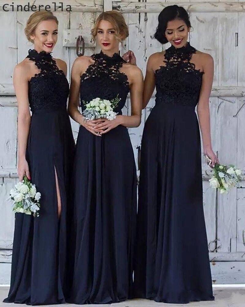 Dark Navy Halter Sleeveless Chiffon Lace Applique Pleated   Bridesmaid     Dresses   Cheap Lace Chiffon Sweep Train   Bridesmaid   Gown