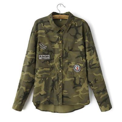 2016 del otoño del resorte Chaquetas de Moda chaqueta de Las Mujeres Abrigo de Manga Larga Verde Militar Chaqueta Delgada Blusas Abrigos